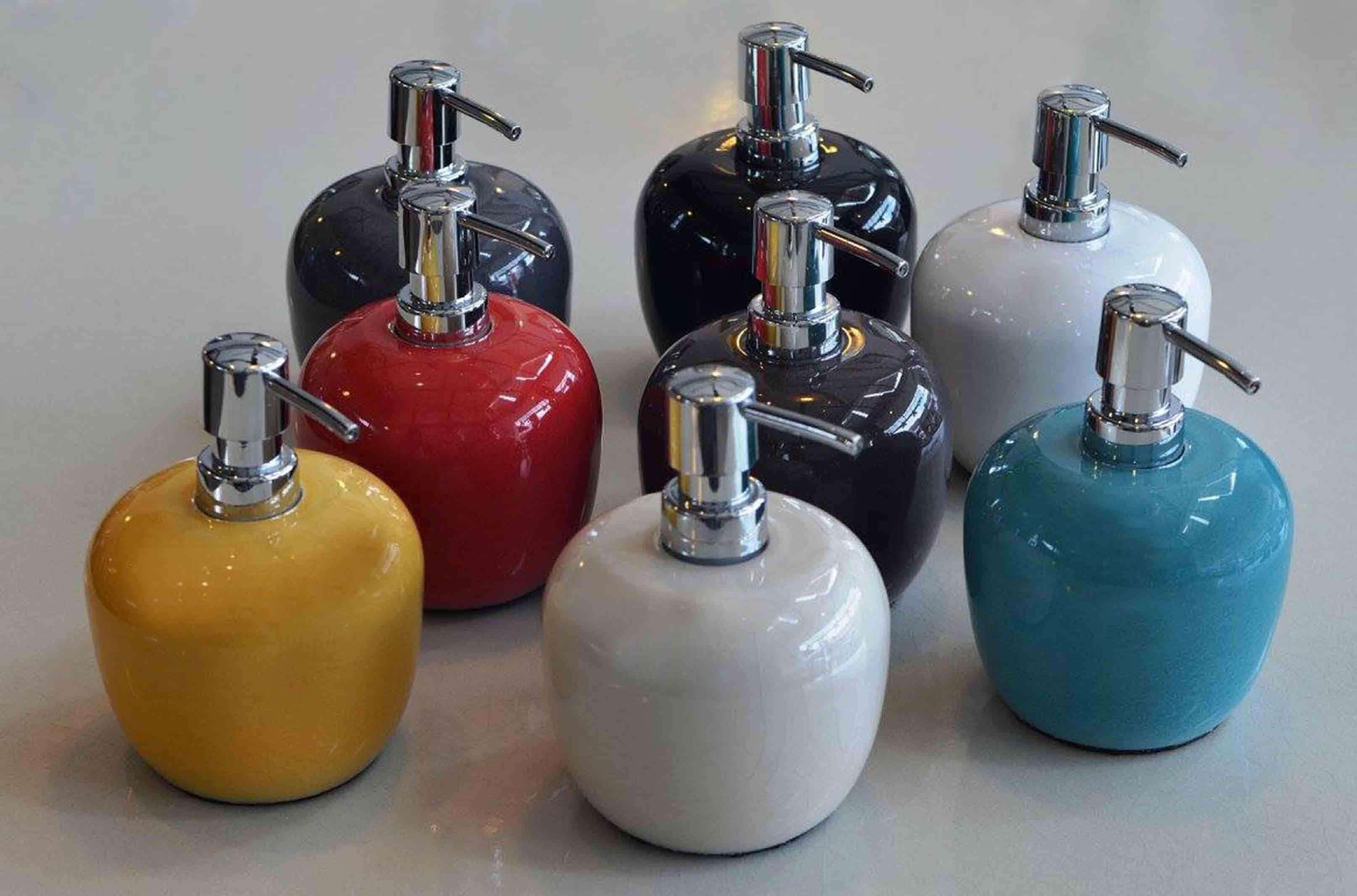 Distributeurs savon pierre de lave émaillée couleurs