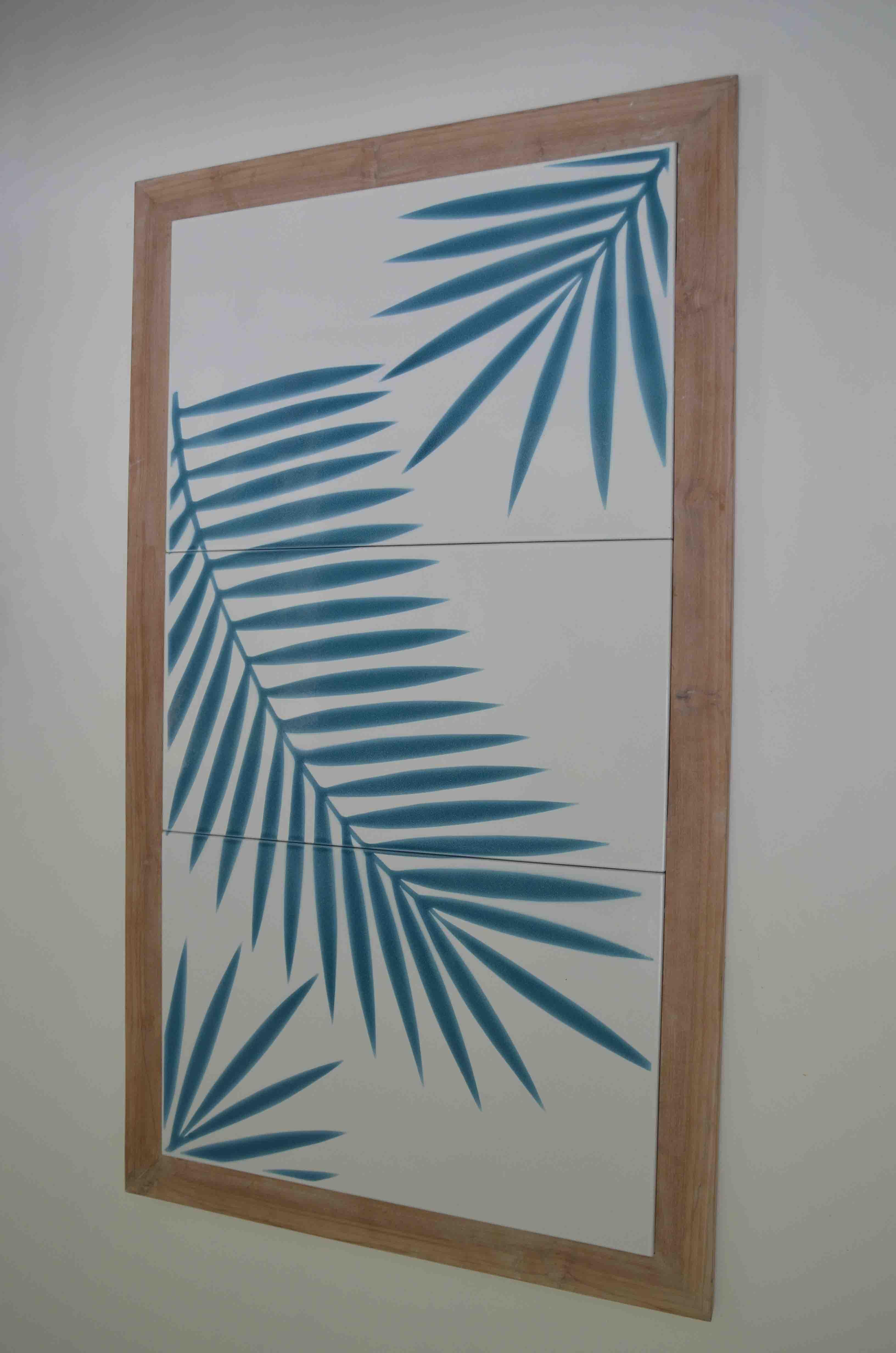 deco murale-palmier-blanc-bleucouleur-lave-volcan-modern-émaille-céramique-France-Luxe-design