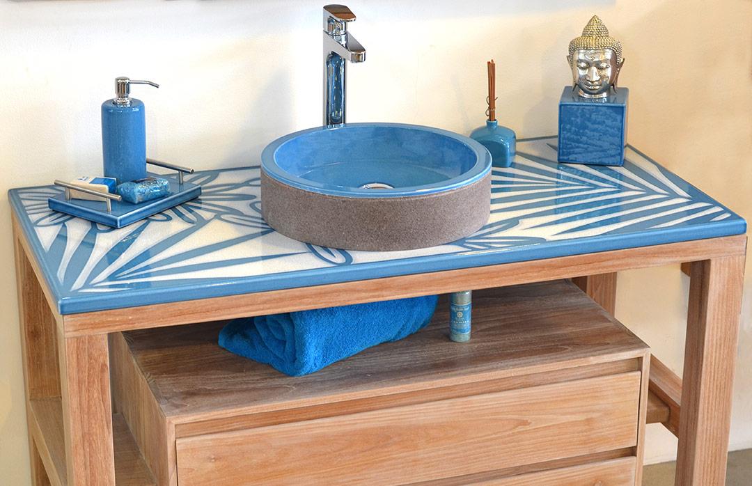 Meuble TOBA lave émaillée bleu