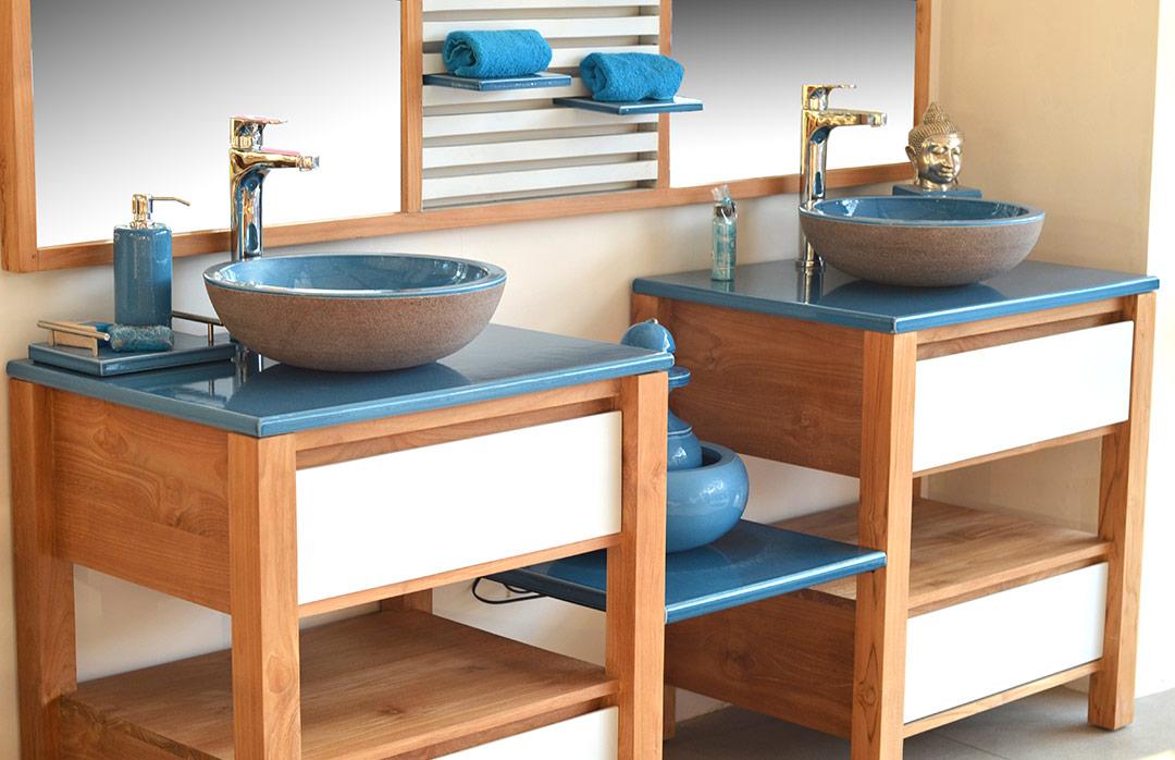 double bassin turquoise pierre de lave émaillée
