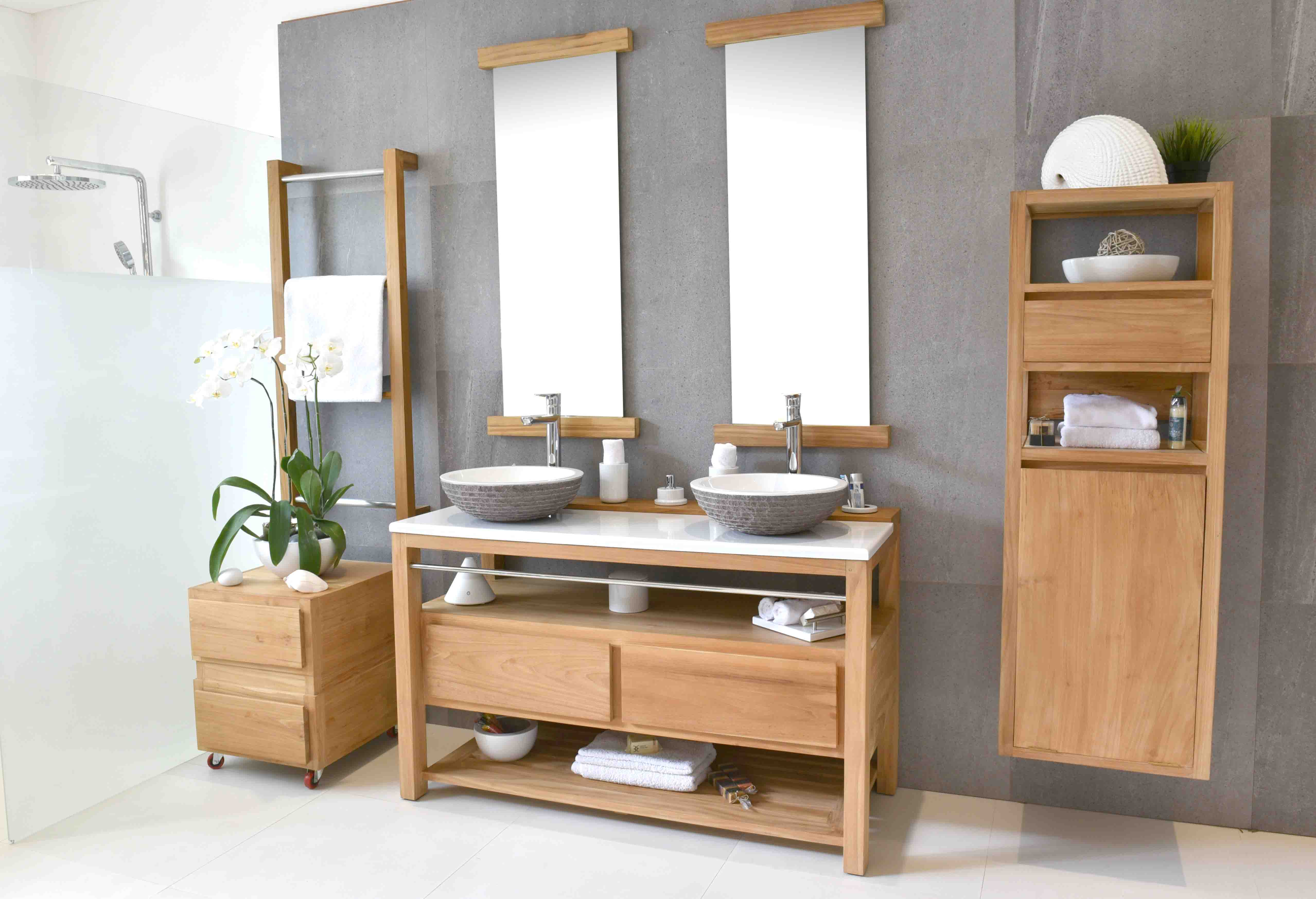 Tara-de-face-double-sink-white-furniture-modern-innovant-bois-teak-nature-couleur-lave-volcan-émaille-céramique-France-Luxe