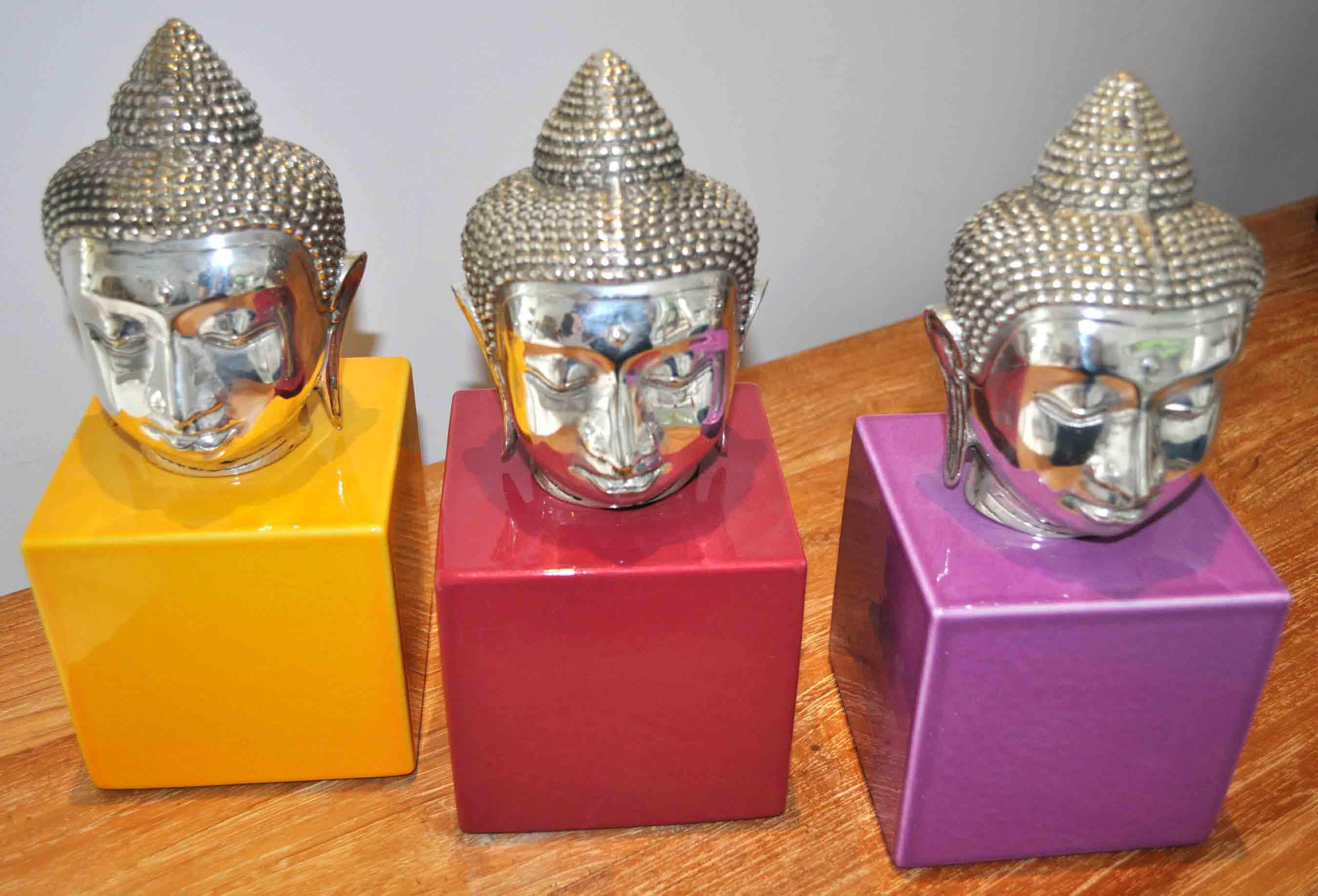 Décorations Budha  lave émaillée JAUNE