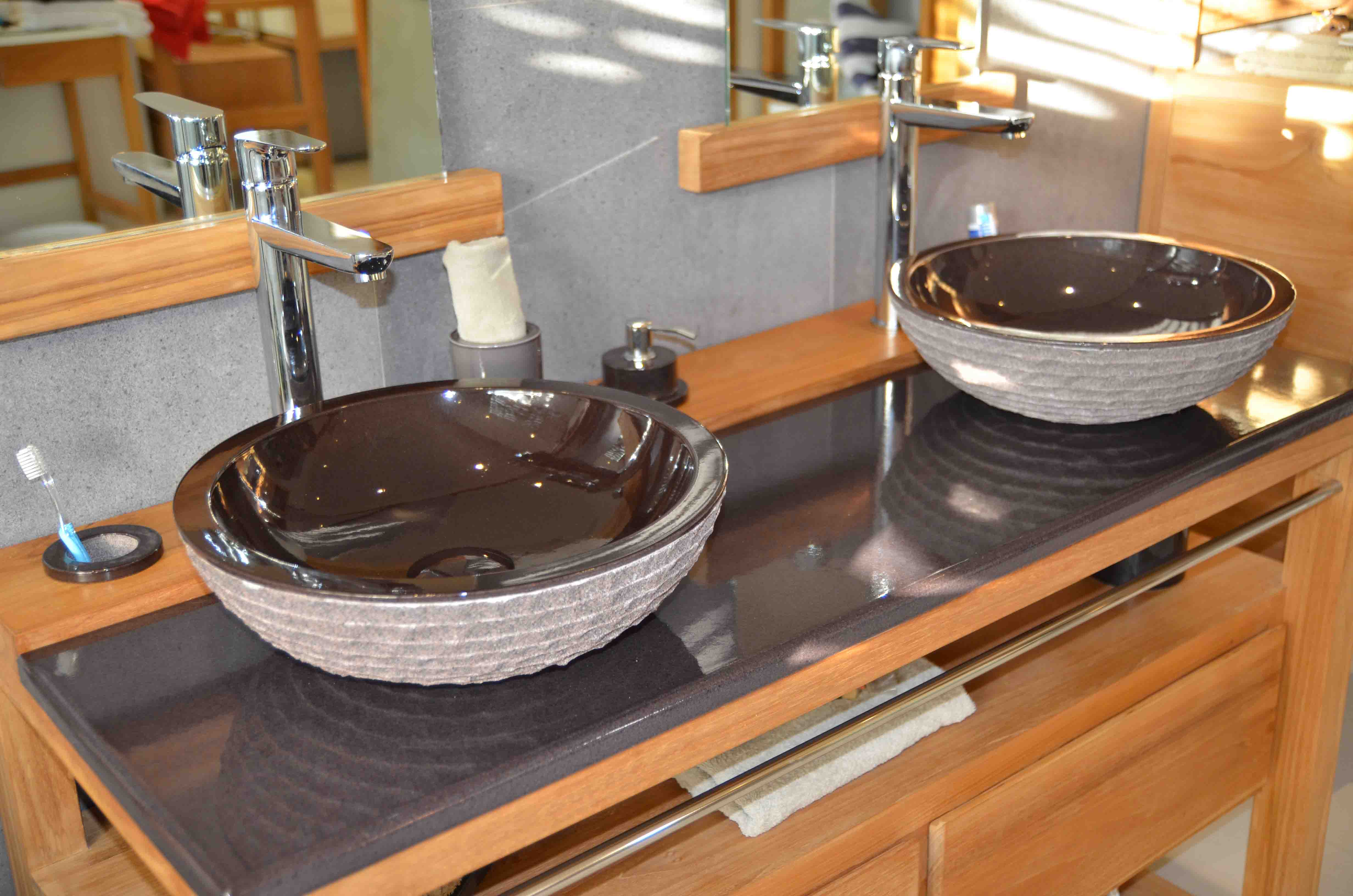 set-toba-130-double-sink-vasque-trenge-transparent-bois-teak-nature-couleur-lave-volcan-émaille-céramique-France-Luxe