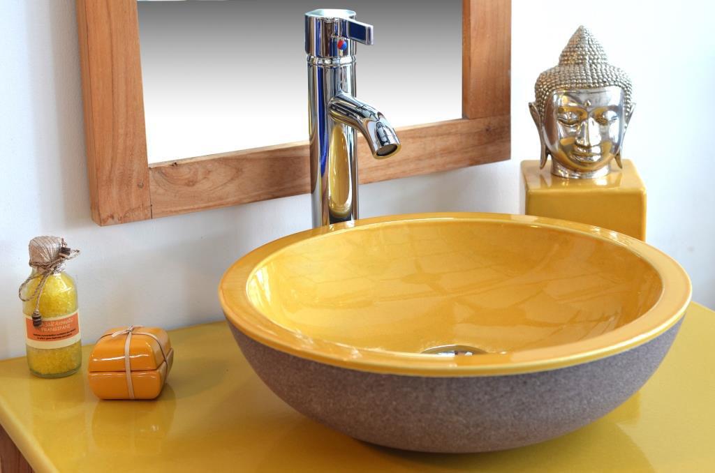 plan-de-travail-salle-de-bain-jaune-bois-teak-nature-couleur-lave-volcan-émaille-céramique-France-Luxe