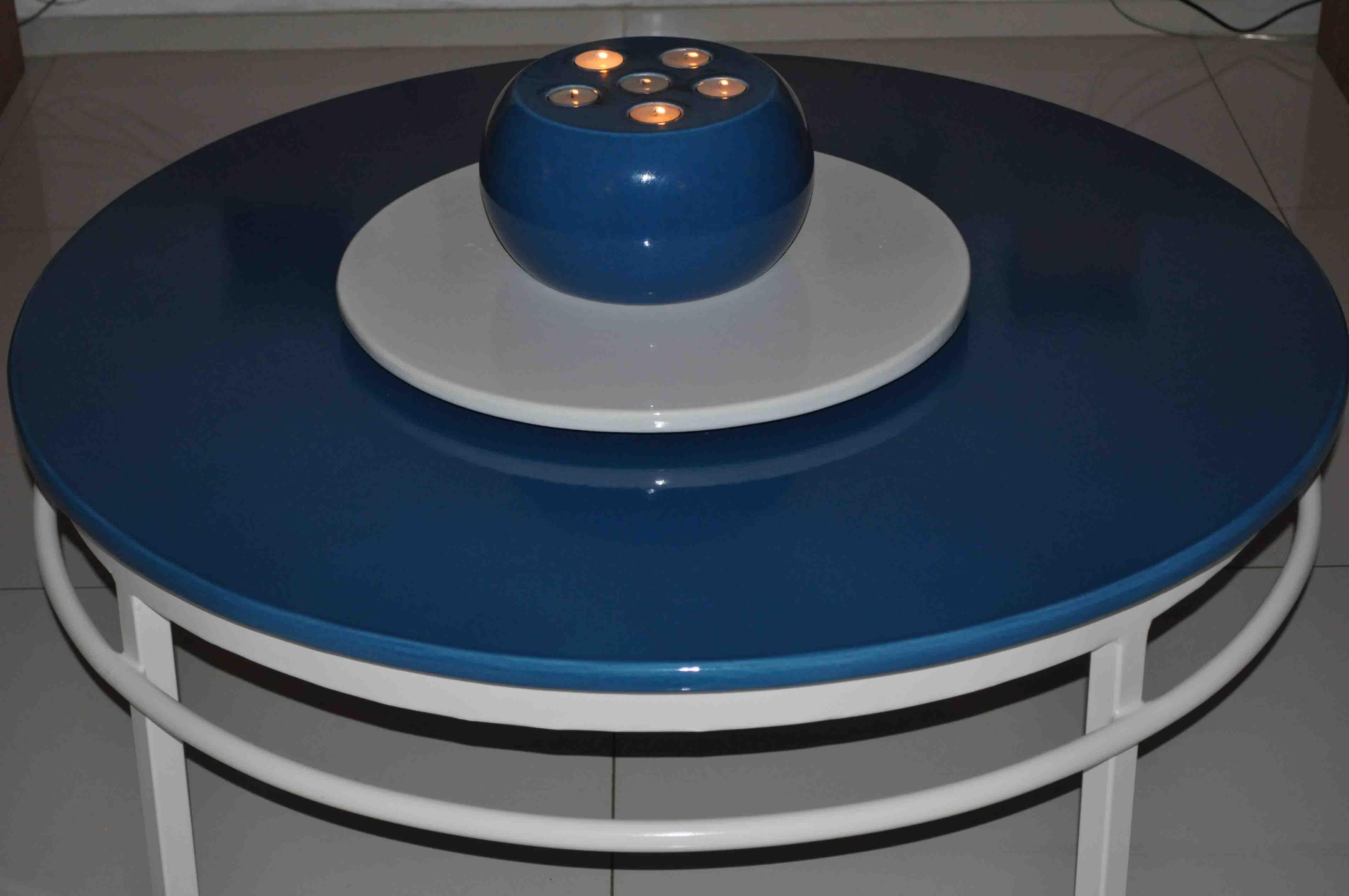 table ronde bleu azur-couleur-lave-volcan-émaille-céramique-France-Luxe